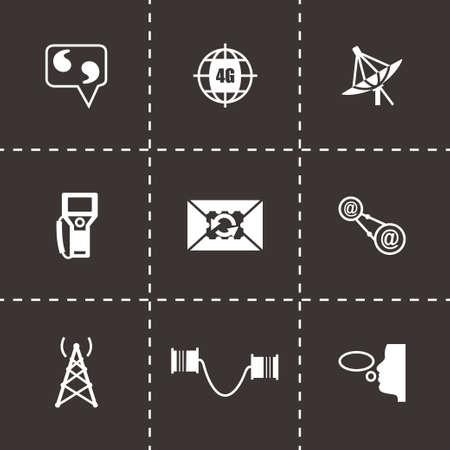 icono comunicacion: Icono de la comunicaci�n Conjunto de vectores en el fondo negro