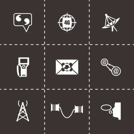 contacts group: Vector Communication icon set on black background