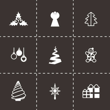 cristmas: Vector Cristmas trees icon set on black background