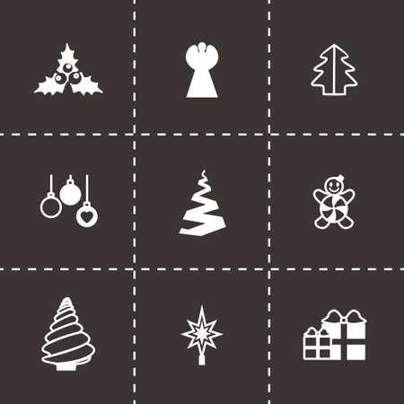cristmas: Vector Cristmas trees icon set on black background