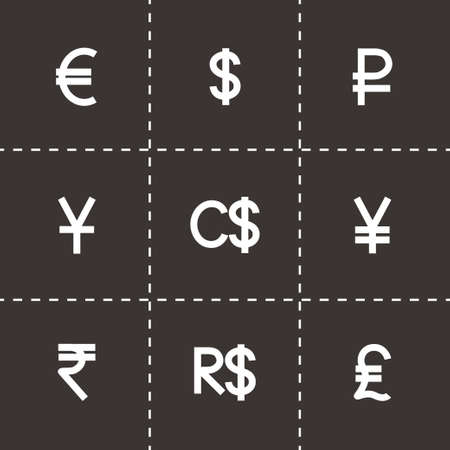 renminbi: Vector Currency symbol icon set on black background Illustration
