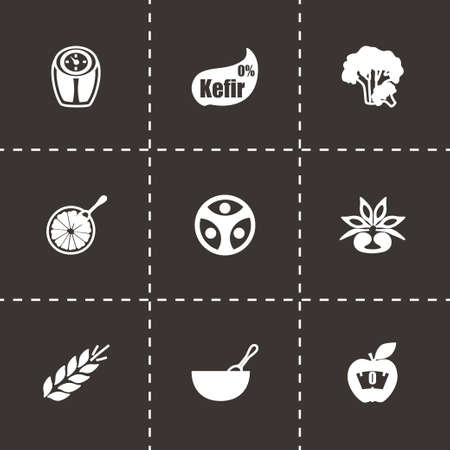 Vector Diet icon set on black background Vector