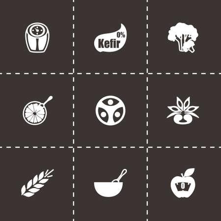 food hygiene: Vector Diet icon set on black background