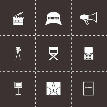 Vector Filming icon set on black background Vector
