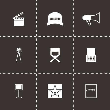 vdo: Vector Filming icon set on black background Illustration