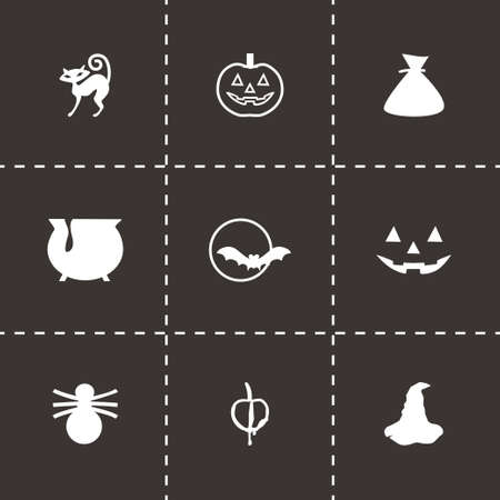 cat s: Vector Halloween icon set on black background