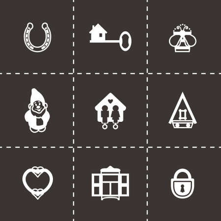 shower room: Vector House icon set on black background