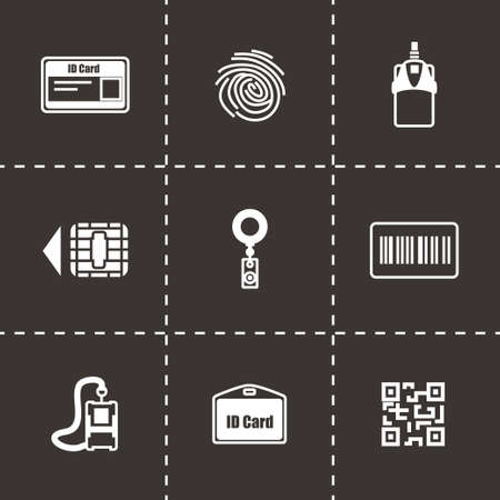 empty wallet: Vector ID card icon set on black background