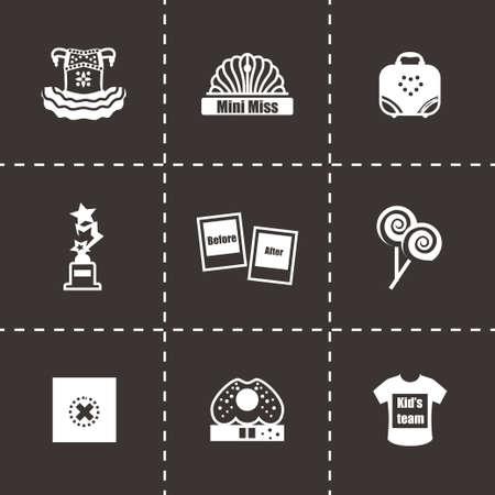 miss: Vector Mini Miss icon set on black background