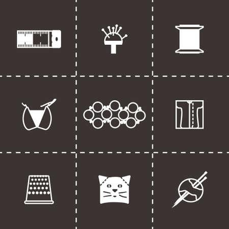 resin: Vector Needlywork icon set on black background Illustration