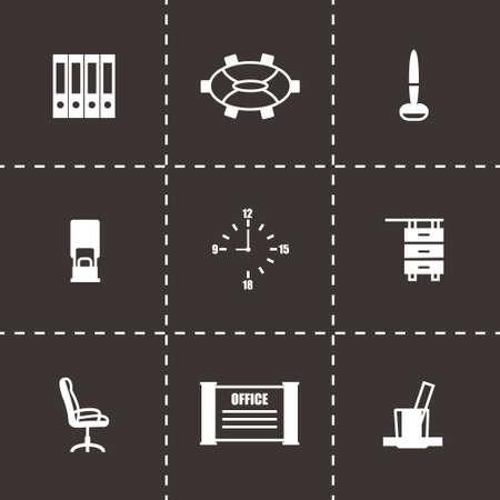 icone office: Office ic�ne Vector set sur fond noir