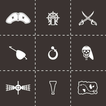 brigand: Vector Pirate icon set on black background
