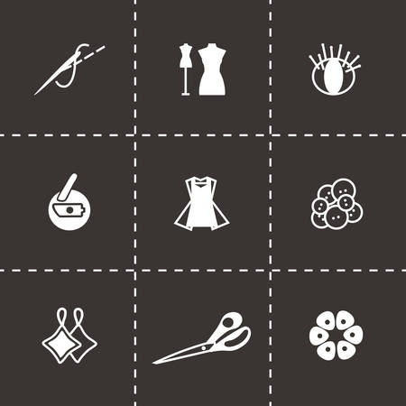 diaper pin: Vector Sewing icon set on black background Illustration