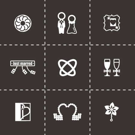 tailcoat: Vector Wedding icon set on black background