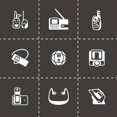 wireless lan: Vector Wireless icon set on black background Illustration