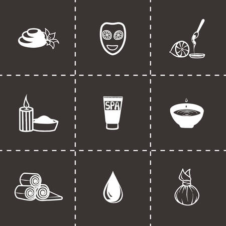 feet care: Vector Spa icon set on black background Illustration