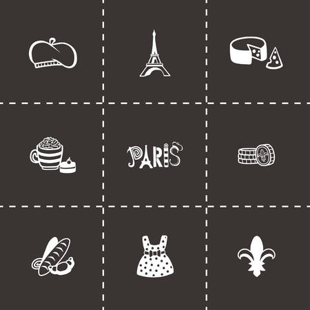 frenchwoman: Vector Paris icon set on black background