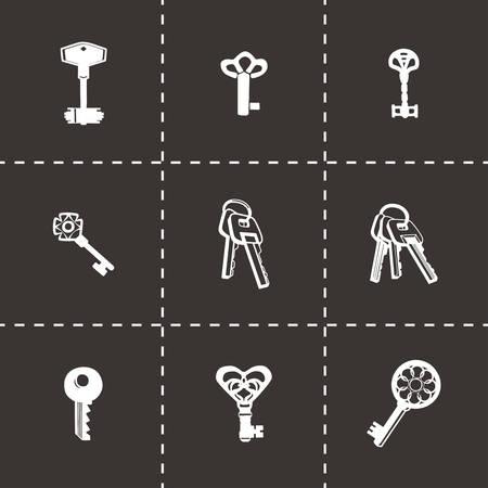 rusty padlock: Vector Key icon set on black background