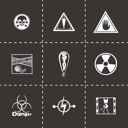 gas mask warning sign: Vector Danger icon set on black background