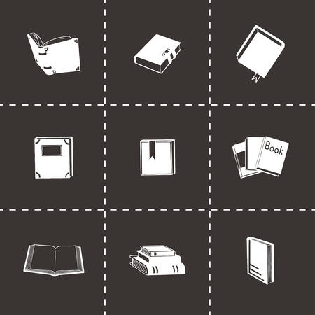 electronic publishing: Vector Book icon set on black background