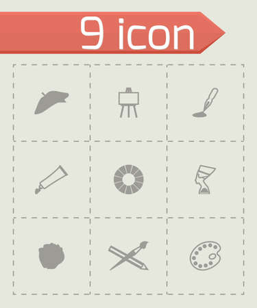 artists mannequin: Vector Art icon set on grey background