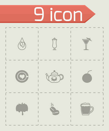 Vector Beverages icon set on grey background Vector