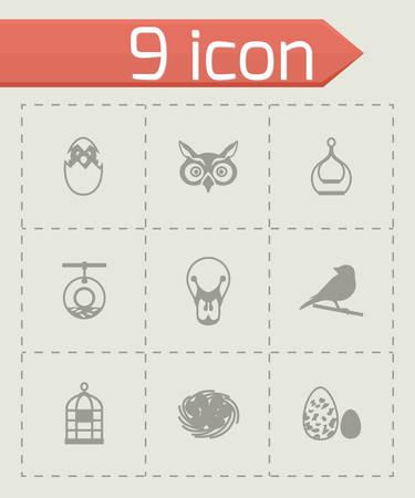 pigeon owl: Vector Bird icon set on grey background