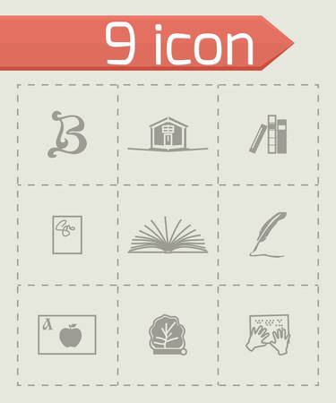 videobook: Vector Book icon set on grey background
