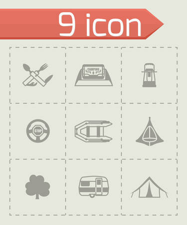 recreational fishermen: Vector Camping icon set on grey background