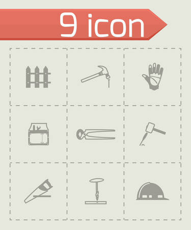 carpet and flooring: Vector Carpenty icon set on grey background Illustration