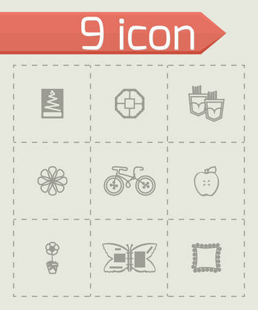 Vector Handmade icon set on grey background Vector