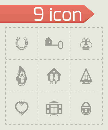 swimming pool home: Vector House icon set on grey background