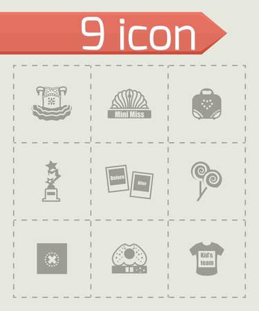 Vecteur Mini Mlle icon set sur fond gris Banque d'images - 40528461