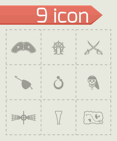Vector Pirate icon set on grey background