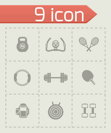 beach ball girl: Vector Sport icon set on grey background