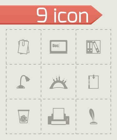 uploading: Vector Document icon set on grey background Illustration