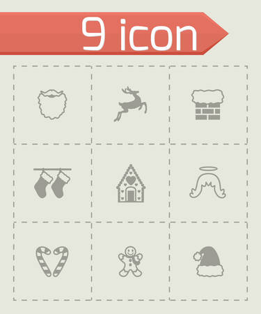 cristmas: Vector Cristmas icon set on grey background
