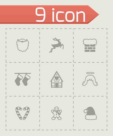 cristmas: Vector Cristmas icon set on grey background