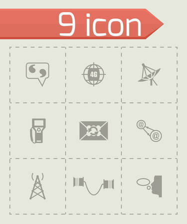 contacts group: Vector Communication icon set on grey background