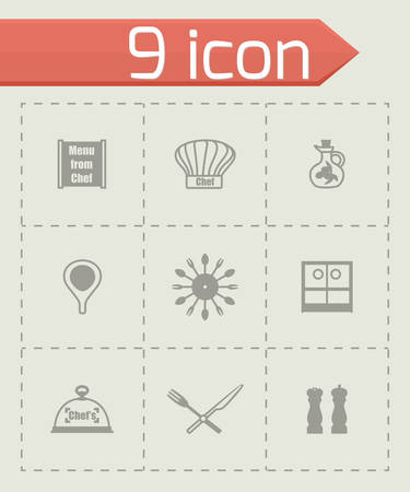 Vector Chef icon set on grey background Vector