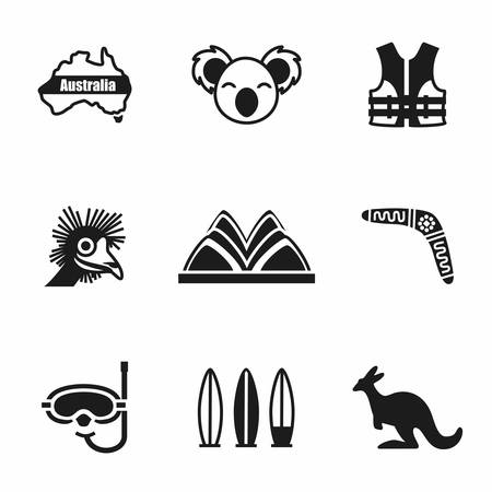 australia: Vector Australia icon set on white background