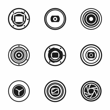 snaps: Vector Camera shutter icon set on white background