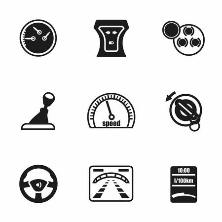 car dashboard: Vector Car dashboard icon set on white background Illustration