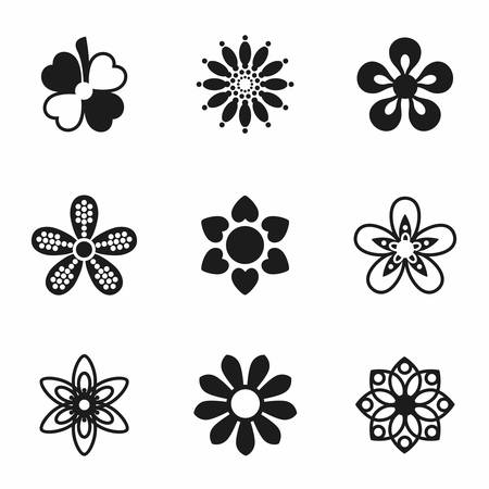 Vector Flowers icon set on white background Иллюстрация