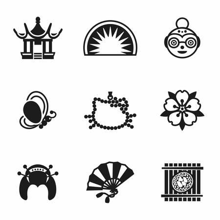 maneki neko: Vector Japan icon set on white background