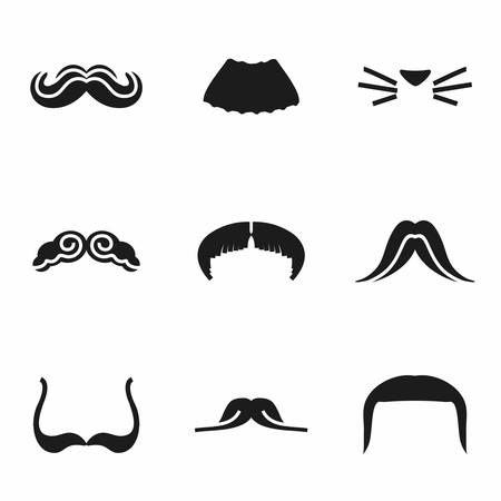 chaplin: Vector Mustaches icon set on white background