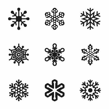 Vector Snowflake icon set on white background