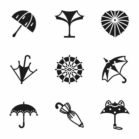 beach closed: Vector Umbrella icon set on white background Illustration