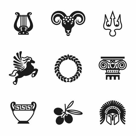 americas: Vector Greece icon set on white background Illustration