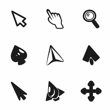Vector cursor icon set on white background